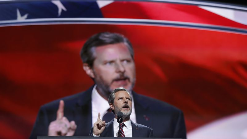FILE - In this Thursday, July 21, 2016 file photo, Jerry Falwell Jr., president of Liberty...