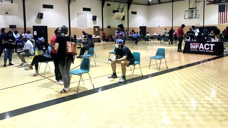 The crowds came out to get vaccinated on Sept. 8, 2021, at the May Park Community Center in...