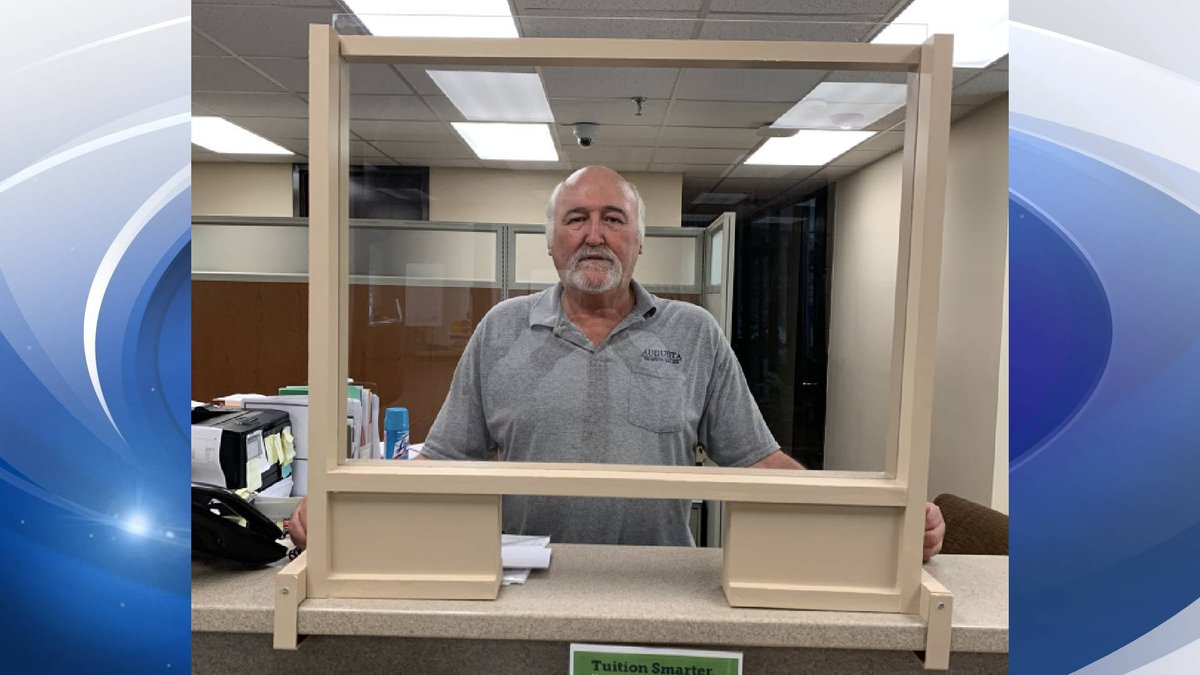 Director of Facilities Garry Stephens and Chris Gay made these sneeze guards by hand, at...