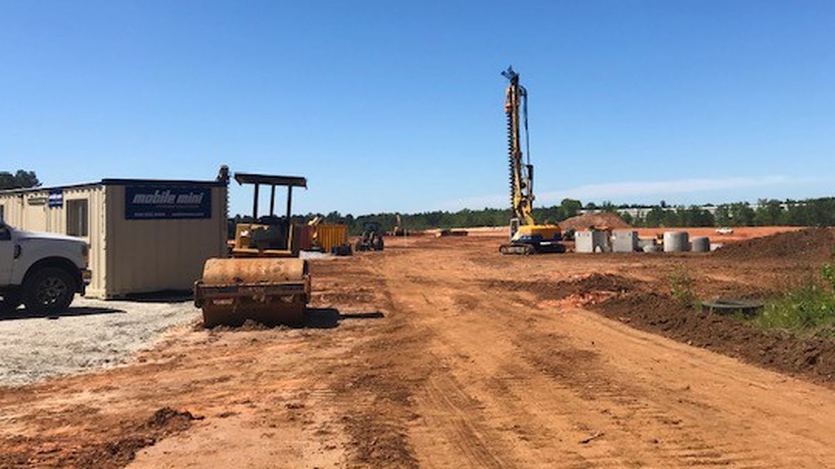 Evidence of construction was visibe Monday at the Amazon fulfillment center site in Appling.