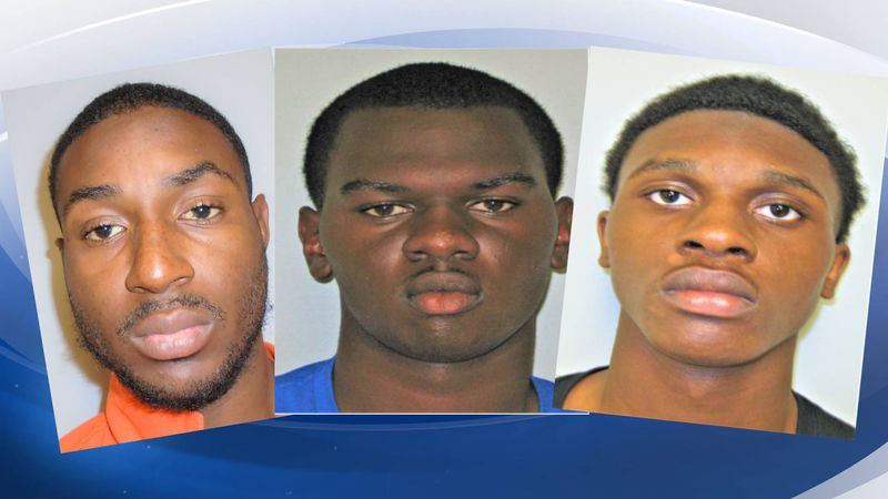 Jason Brigham Jr., 28, (left), Marquel Bynes, 18, and Keon Flemming, 19, are in custody.