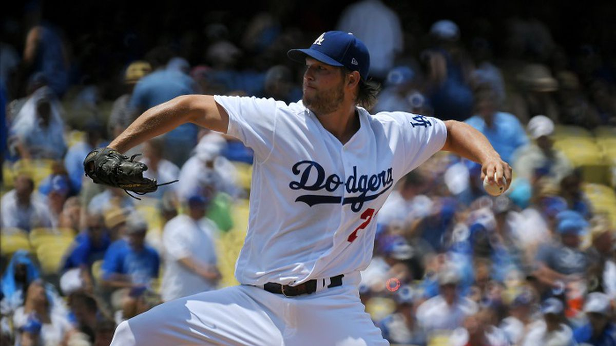 Los Angeles Dodgers starting pitcher Clayton Kershaw throws to the plate during the second inning of a baseball game against the Kansas City Royals, Sunday, July 9, 2017, in Los Angeles. (AP Photo/Mark J. Terrill)