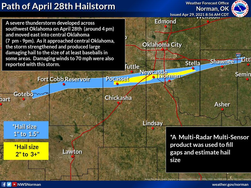 April 28th hailstorm that impacted portions of Oklahoma.