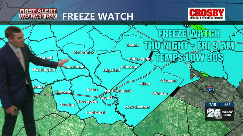 Rain comes to an end tonight. Much cooler the next few days. Freeze watch in effect for late...