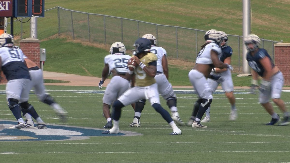 Georgia Southern true freshman quarterback Cam'Ron Ransom looking to pass in the Eagles final...