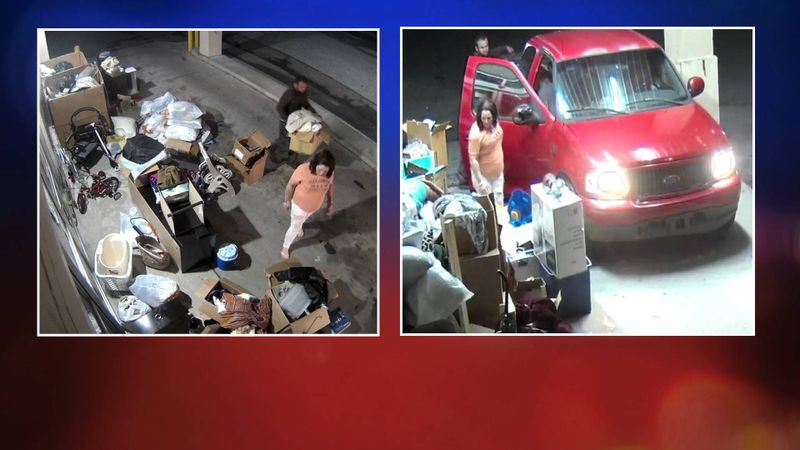 Security camera footage show a man and a woman drive up and steal donated merchandise from a...