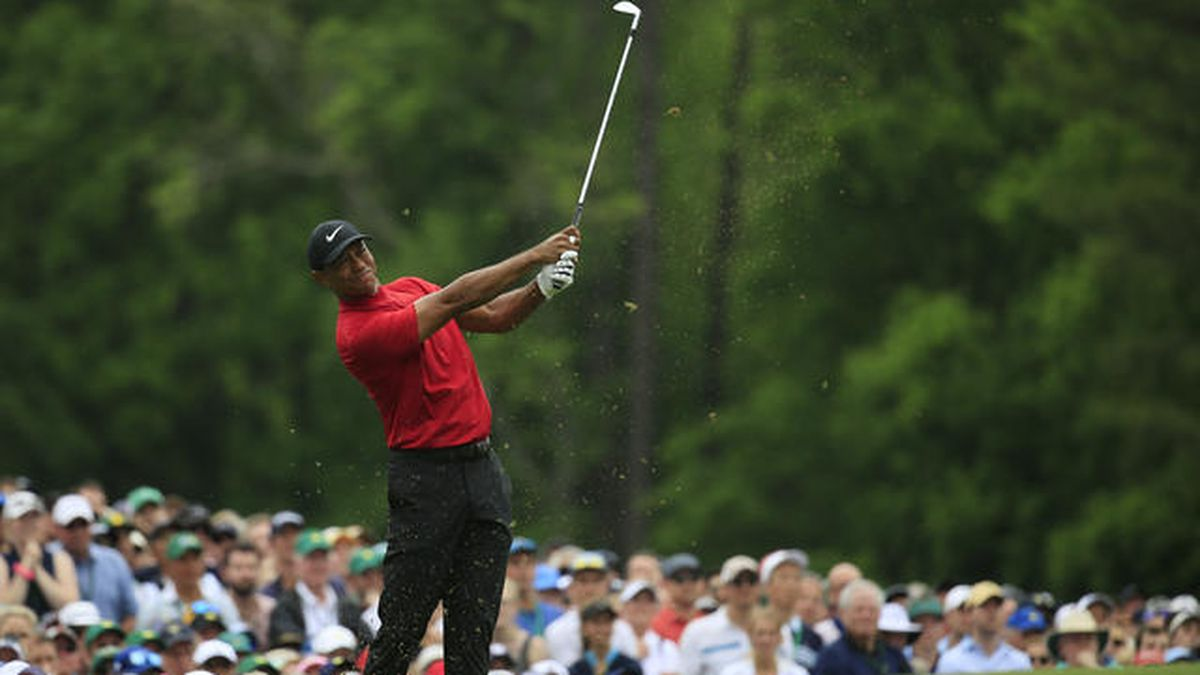 Masters champion Tiger Woods plays a stroke from the No. 12 tee during the final round of the Masters at Augusta National Golf Club, Sunday, April 14, 2019. (Source: Augusta National Golf Club)