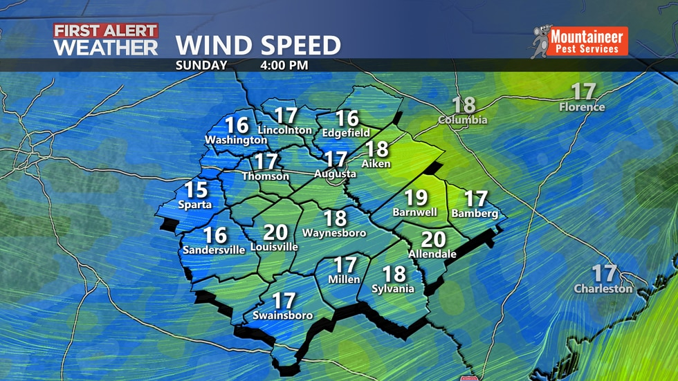 Sunday afternoon forecasted wind speed