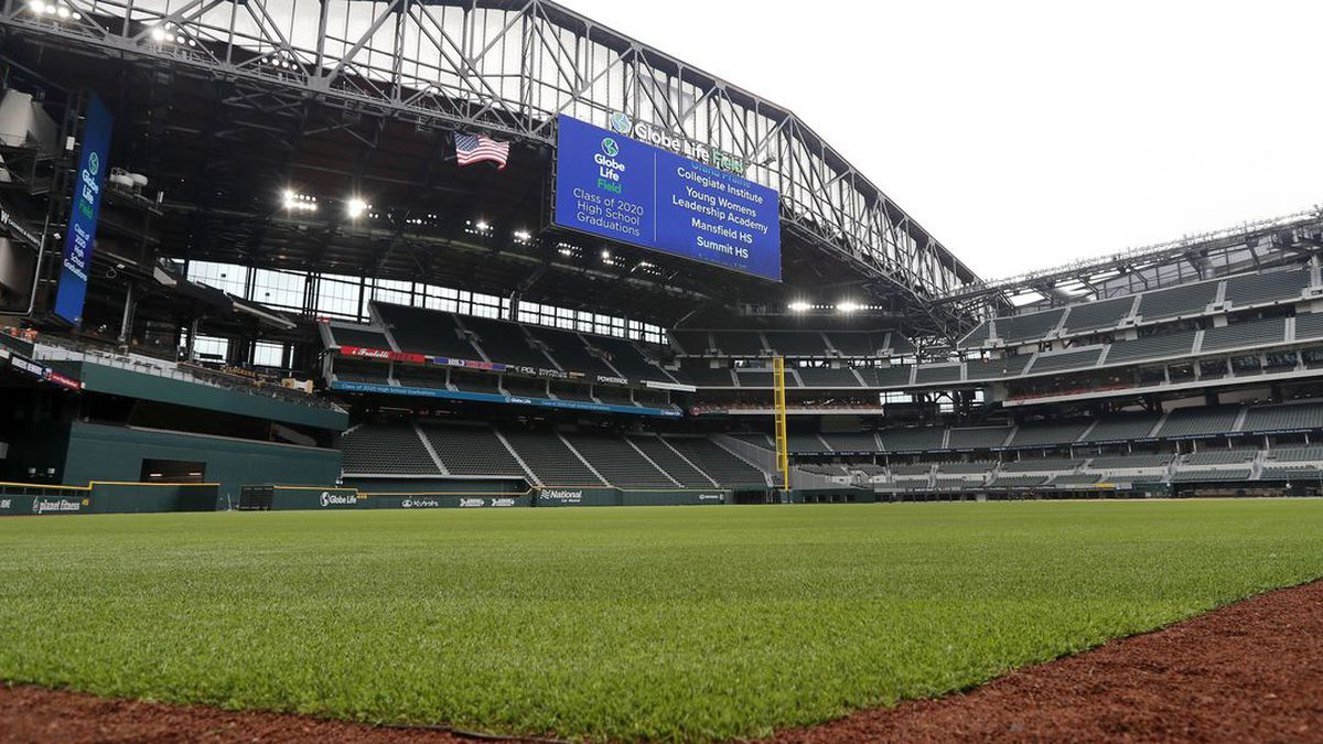 The roof sits open as seen from left field at Globe Life Field, the newly-built home of the Texas Rangers, in Arlington, Texas, Wednesday, May 20, 2020. (Source: AP Photo/Tony Gutierrez/AP)