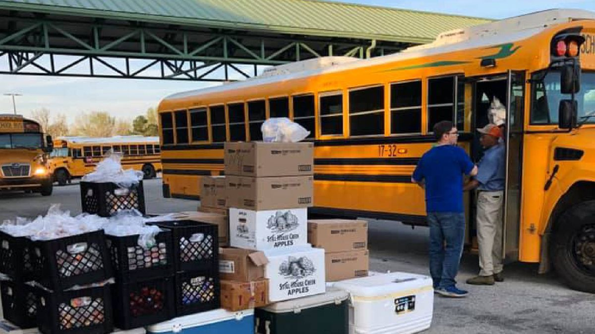 A school bus is loaded up with food to go to youths in Burke County.