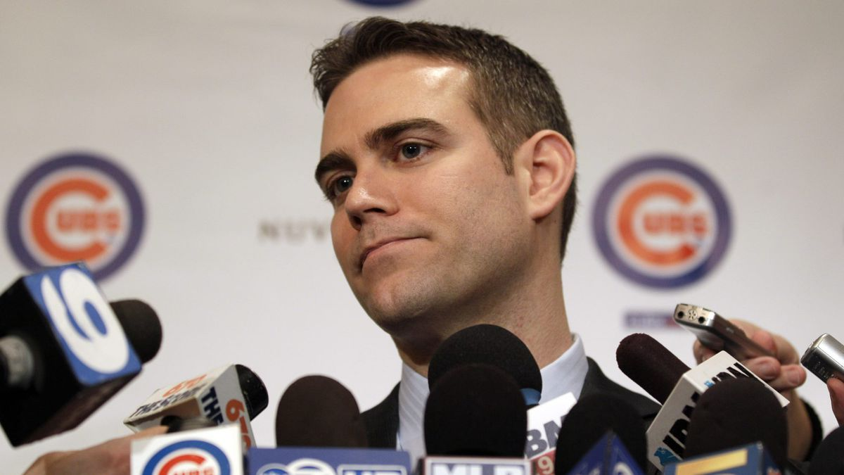 FILE - In this Jan. 13, 2012 file photo, Chicago Cubs president Theo Epstein speaks to...