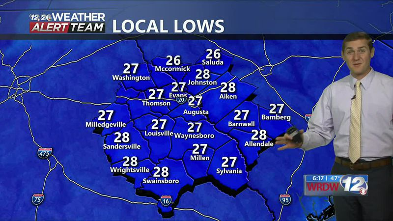 Low temperatures early Thursday morning are expected to be back down in the upper 20s.