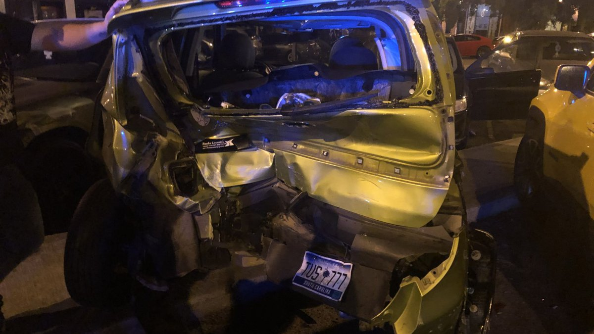 Multiple vehicles were damaged on Broad Street early Saturday morning.