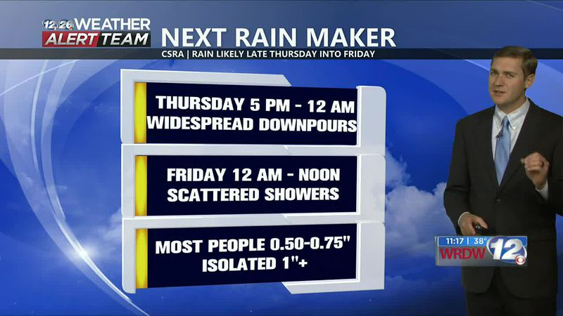 Most of Thursday will be dry, but rain is expected late Thursday into Friday morning.