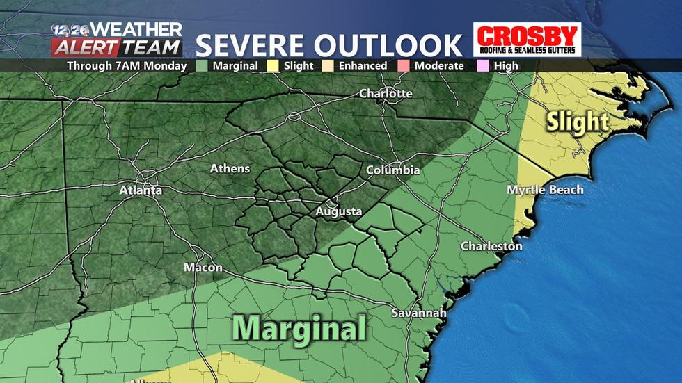 Marginal risk (1/5) for severe weather Sunday night through Monday morning.