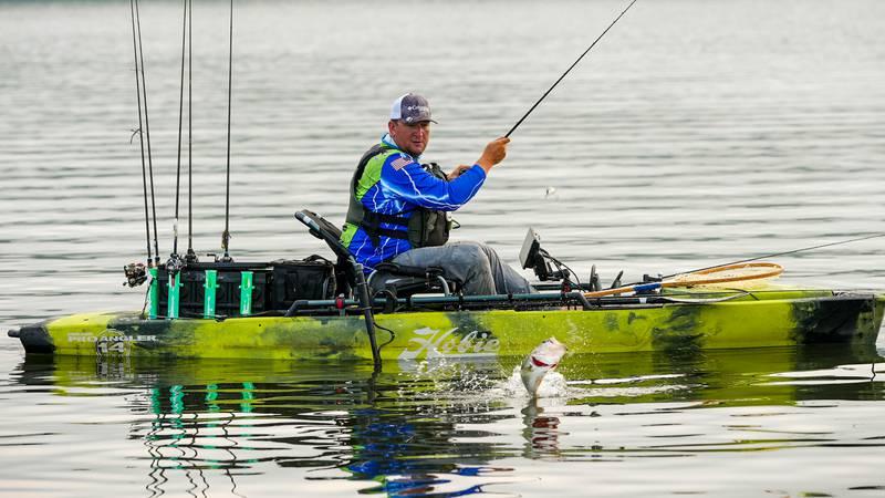 Pro angler Joshua Diehl fishing on Pickwick Lake Saturday July 24th