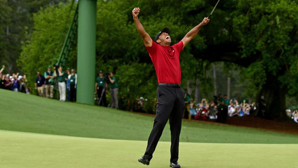 Masters champion Tiger Woods celebrate safter Tiger made his putt on hole No. 18 to win the Masters during the final round of the Masters at Augusta National Golf Club, Sunday, April 14, 2019. (Source: Augusta National Golf Club)