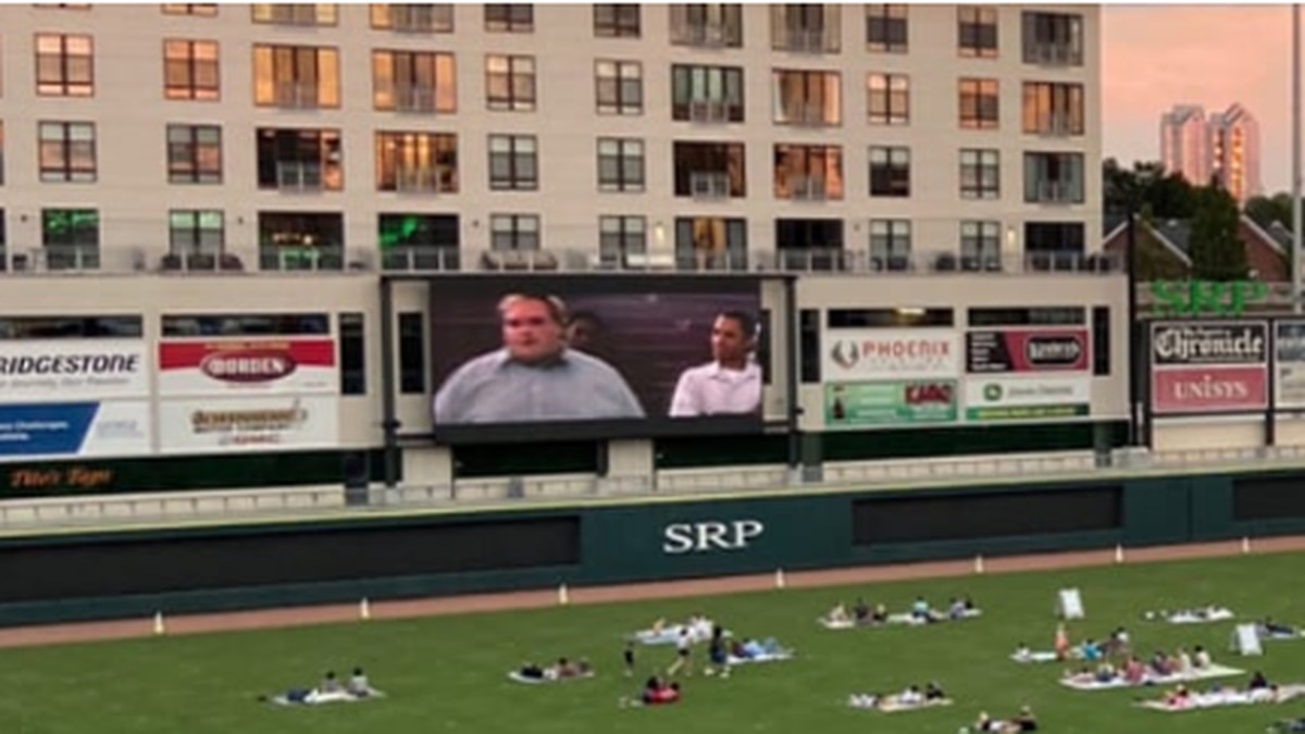 Augusta Green Jackets hosts 2nd Dugout Theater Movie Experience at SRP Park for the community...