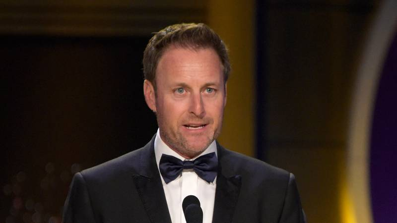 In this April 29, 2018, file photo, Chris Harrison presents the award for outstanding...