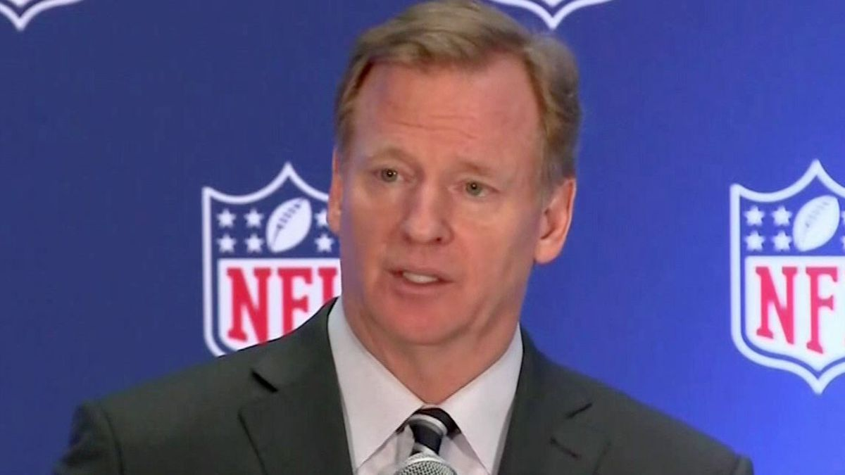 Roger Goodell, Commissioner of the NFL during a press conference discussing the protests by players during the National Anthem. (Photo: MSNBC)
