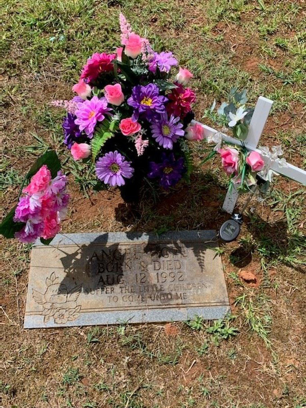 The grave site of baby Angel Hope, which was paid for by the community as well as her funeral.