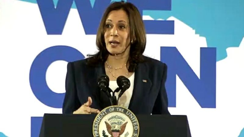 Vice President Kamala Harris speaks about COVID-19 vaccinations on June 14, 2021, in...