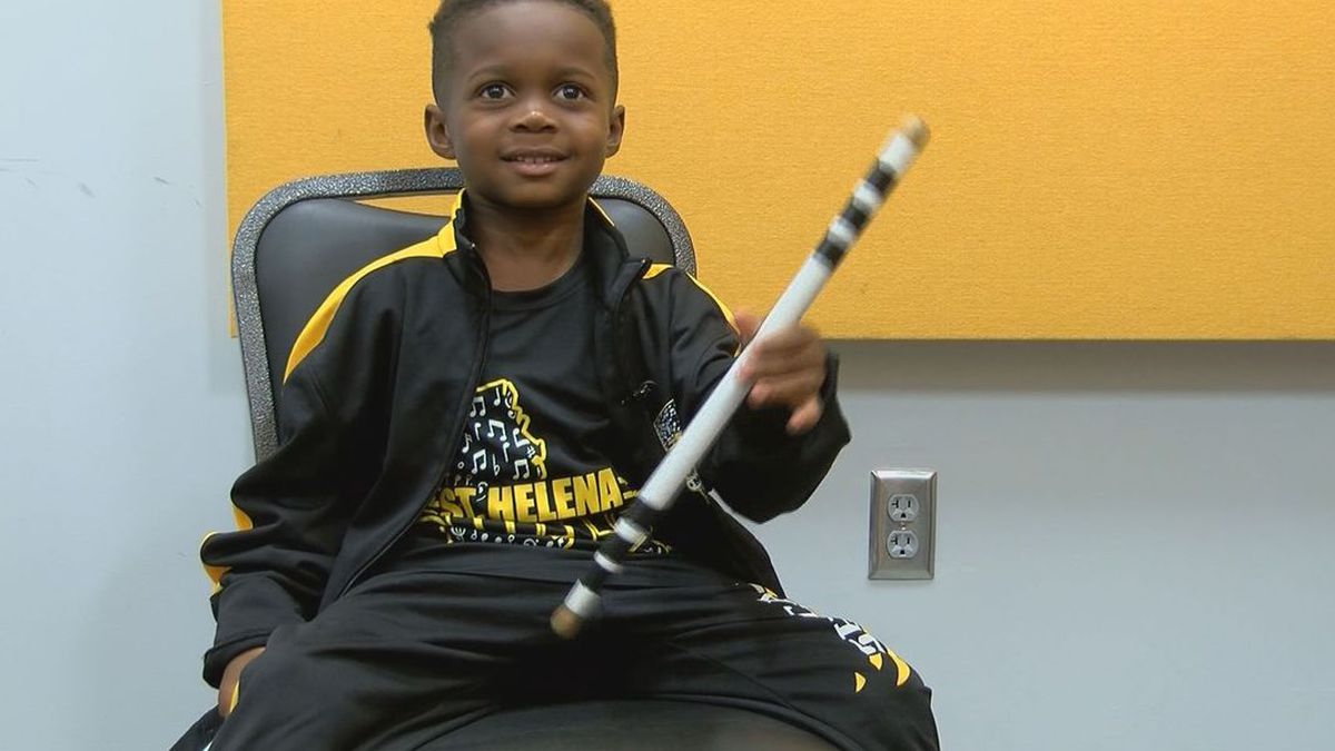 Jeremiah Travis is a 5-year-old drumming sensation that marches in the St. Helena High School band. (Source: WAFB)