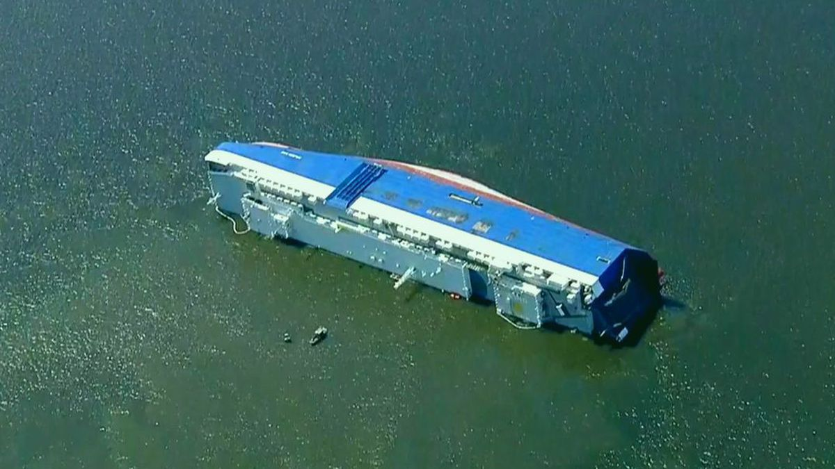 The Golden Ray, a South Korean freighter, has been beached off St. Simons Island since September 2019. (Source: WTOC)