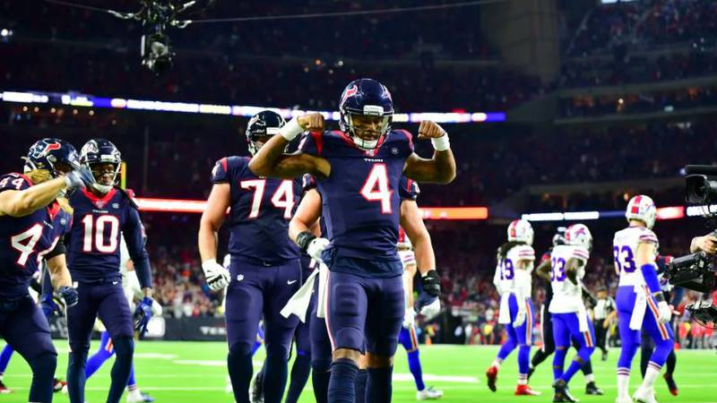 Deshaun Watson poses after scoring a touchdown in the Texans wild card game against Buffalo...