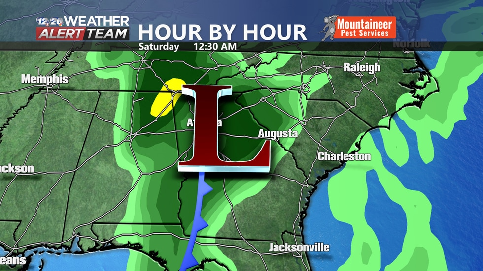 An area of low pressure will move through the region late Friday bringing showers and breezy...