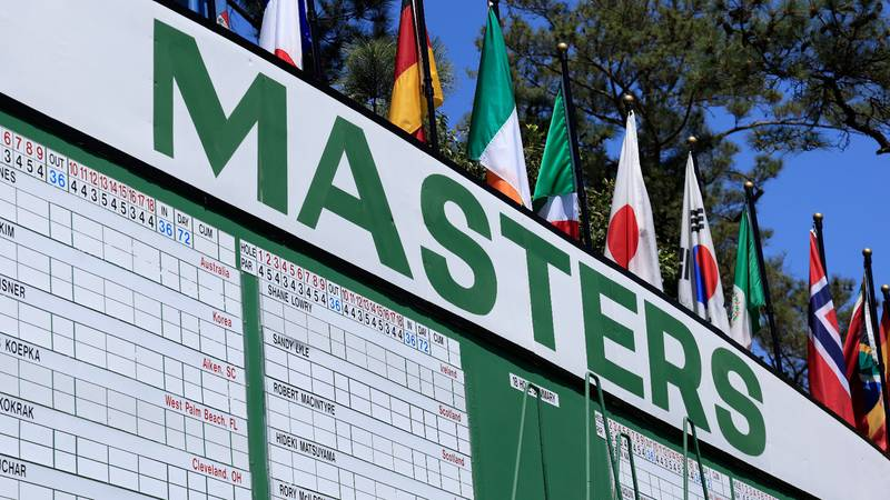 A Masters leaderboard is shown earlier this week at the Augusta National Golf Club.