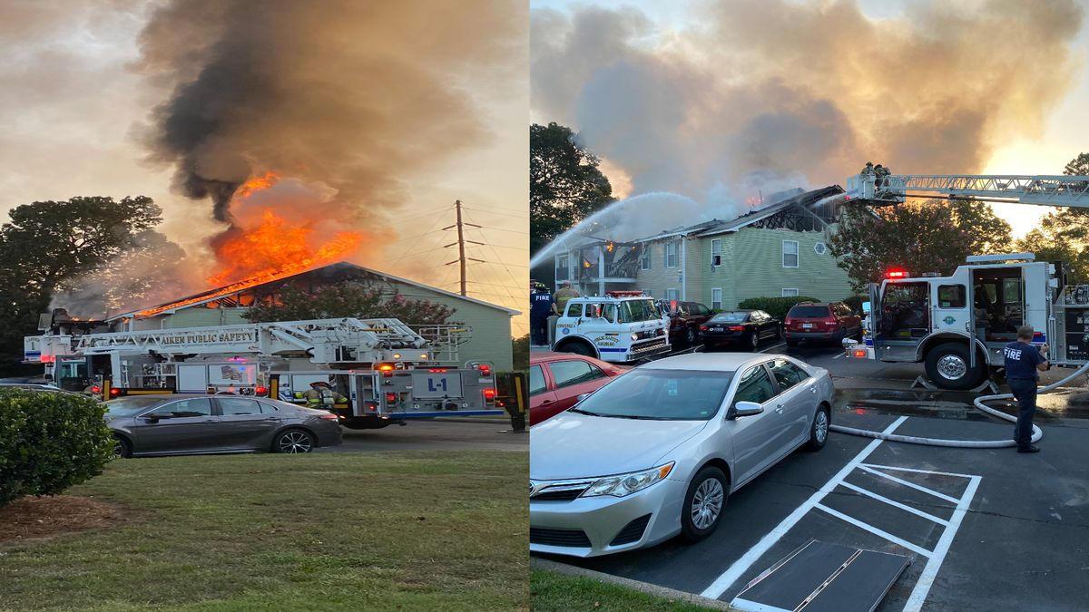 Photo shows fire at Viera Apartments in Aiken, S.C. (credit: Bob Besley)
