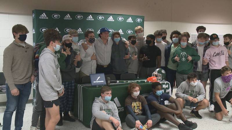 Greenbrier's Beau Shugarts and Wilkes Riggins each signed college football scholarships Thursday.
