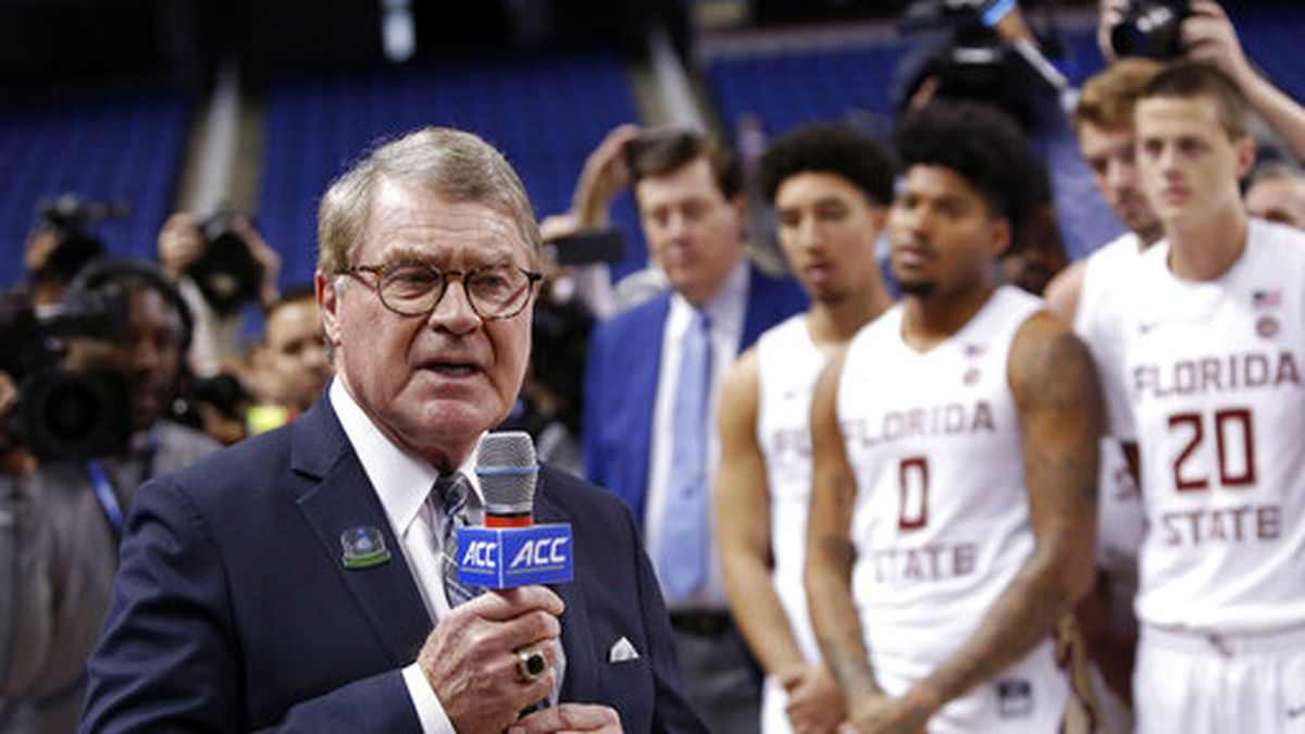 "FILE - In this March 12, 2020, file photo, John Swofford, commissioner of the Atlantic Coast Conference, announces the cancellation of NCAA college basketball games at the ACC tournament in Greensboro, N.C. The Power Five conferences spent $350,000 on lobbying in the first three months of 2020, more than they had previously spent in any full year, as part of a coordinated effort to influence Congress on legislation affecting the ability of college athletes to earn endorsement money. ""In this particular case, the (Power Five) conferences are working together on this so that there's less confusion, not more, in terms of the messaging to congressional leaders that helps explain NIL (Names, Images and Likenesses) and what the concerns are, and how it might work,"" Swofford told The Associated Press. (AP Photo/Ben McKeown, File)"