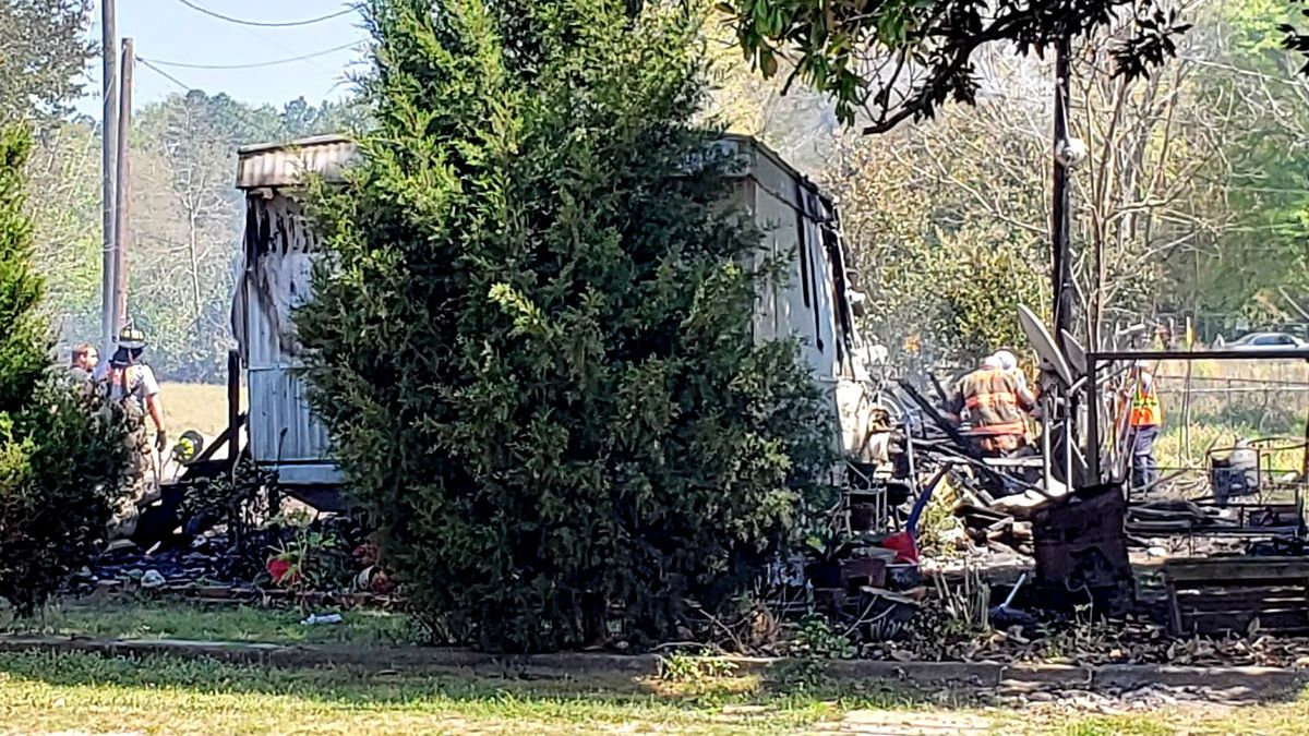 A mobile home and shed burned in an afternoon fire April 6, 2021 in Gloverville.