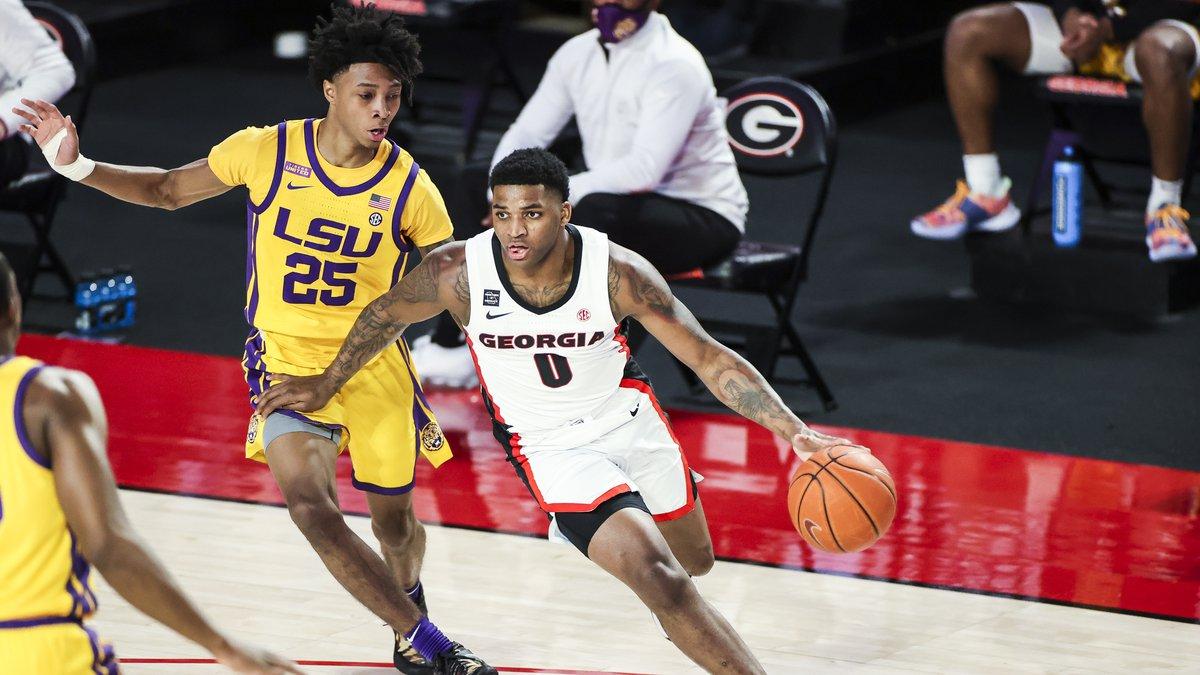 Georgia basketball player K.D. Johnson (0) during a game against LSU at Stegeman Coliseum in...