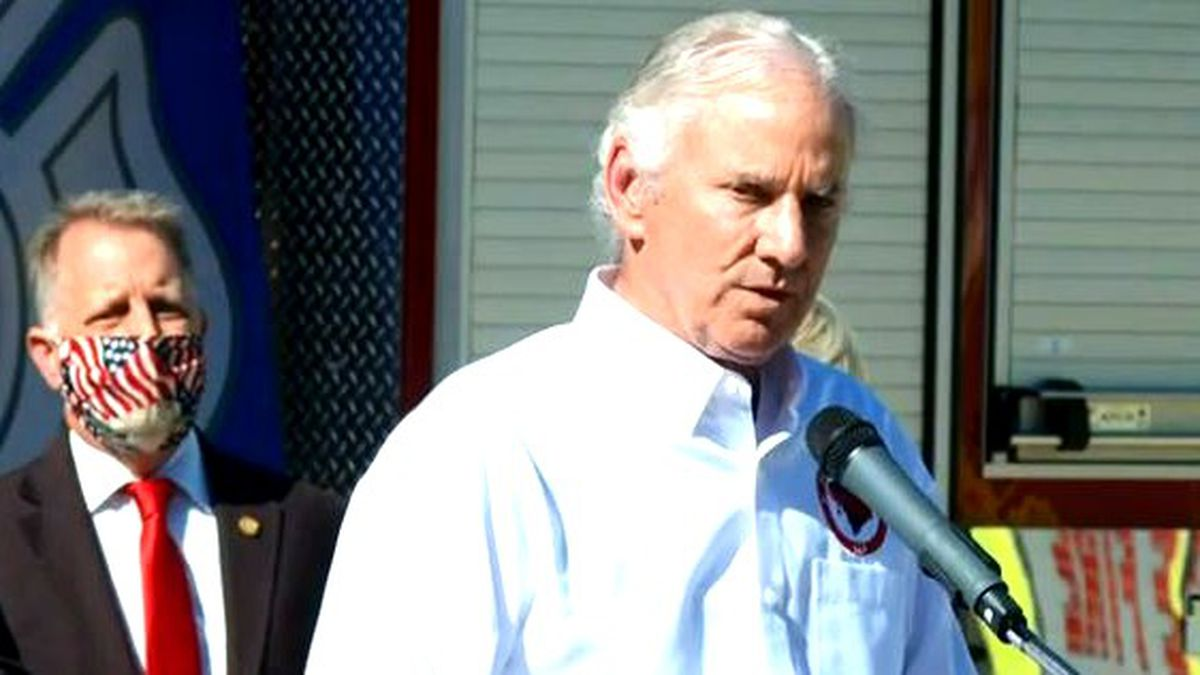 South Carolina Gov. Henry McMaster speaks at an event where he signed a bill to financially help firefighters facing cancer,