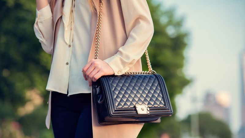 Woman carrying elegant purses bag at city park