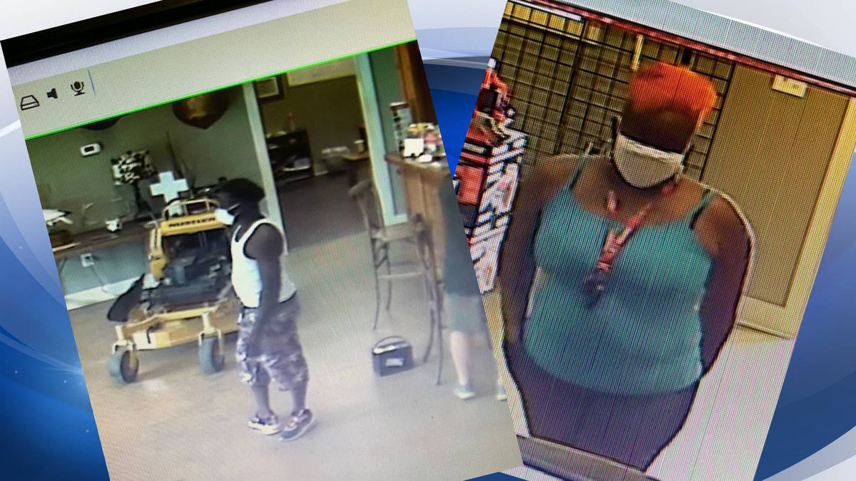 Deputies are looking for man and a woman that were involved in the theft of two Zero Turn Hustler Mowers from a Rental Quip in Evans.