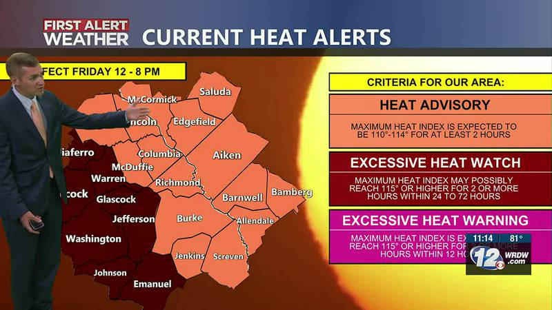 Hottest temperatures of the year expected on Friday. Dangerous heat index values between 105-110.