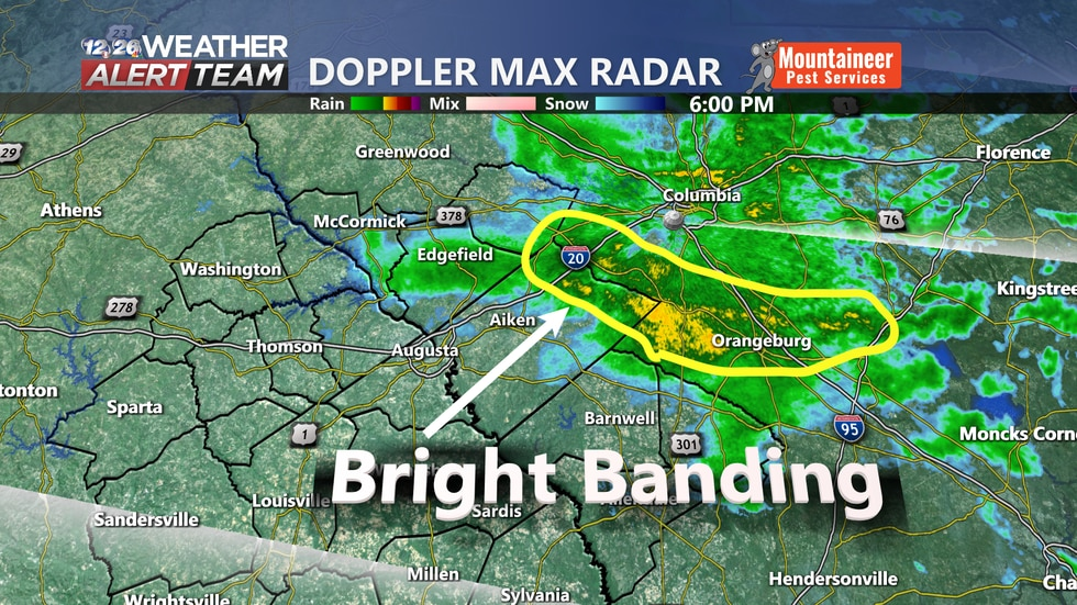 Bright banding over portions of the region.