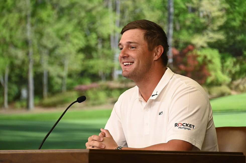 Bryson DeChambeau during a press conference at Augusta National Golf Club on April 6, 2021.