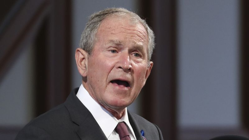 FILE - In this July 30, 2020 file photo, former President George W. Bush speaks during the...