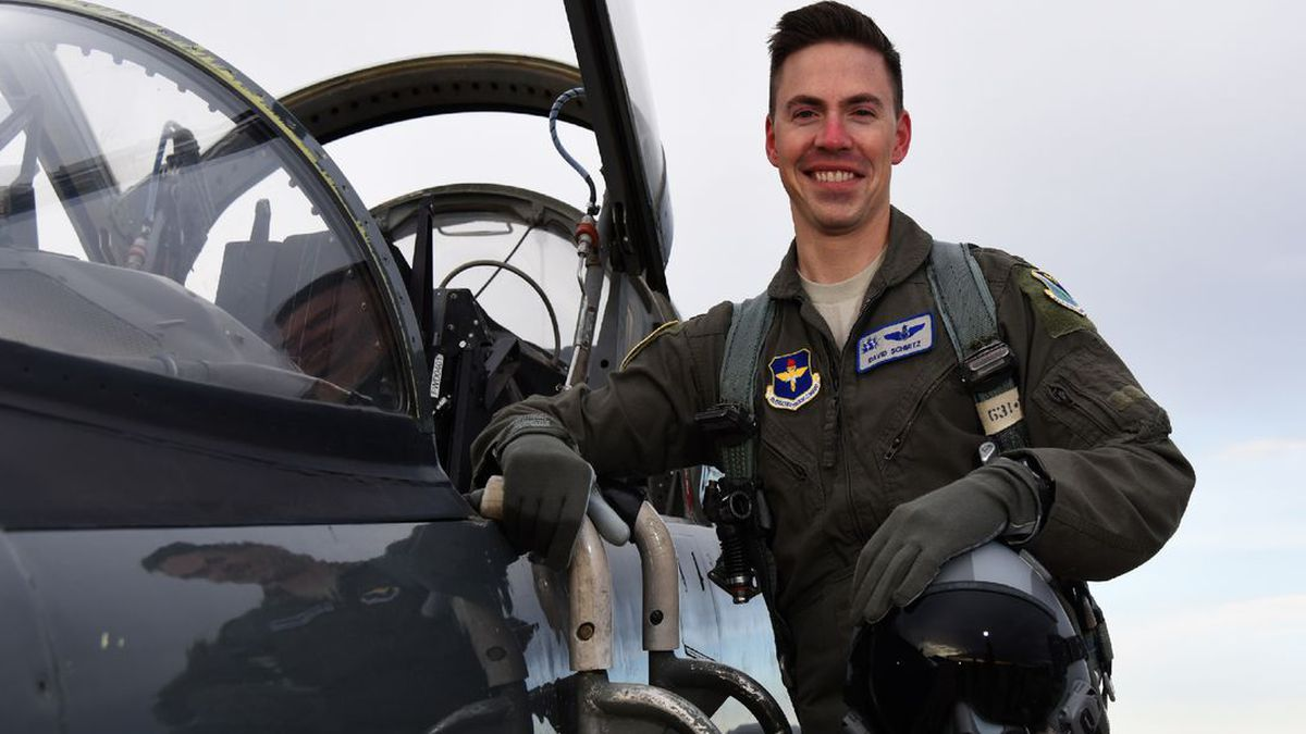 Lt. David Schmitz, 32, from the 77th Fighter Squadron, was on a routine training mission when he tragically crashed, officials said.