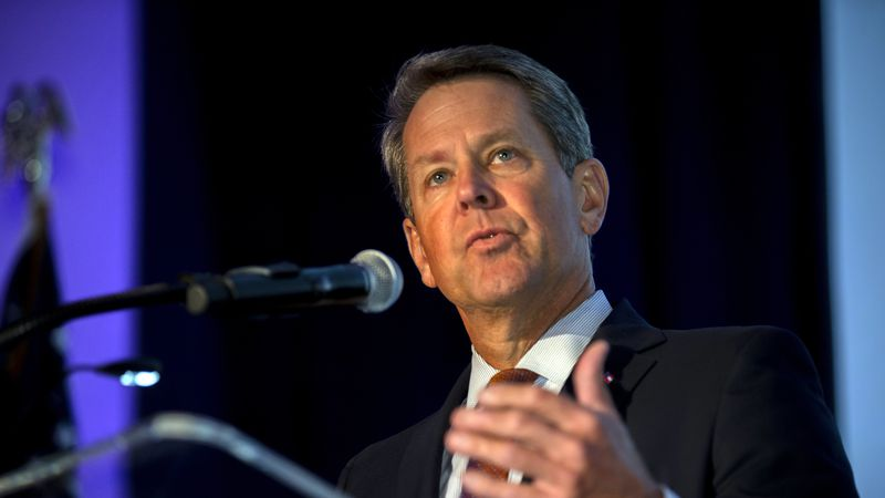 In this image provided by the Georgia Port Authority, Georgia Gov. Brian Kemp speaks during the...