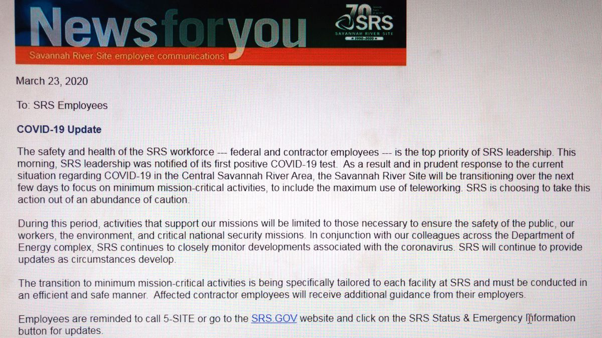 This email was sent to Savannah River Site employees on Monday, March 23, 2020.