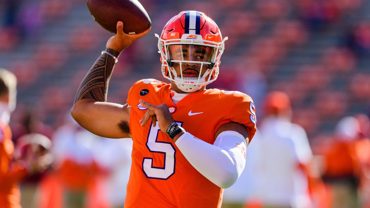 Clemson quarterback D.J. Uiagalelei(5) warms up prior to the NCAA football game between the...
