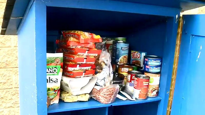 The Lindler family tries to keep this blessing box full of food in North Augusta.