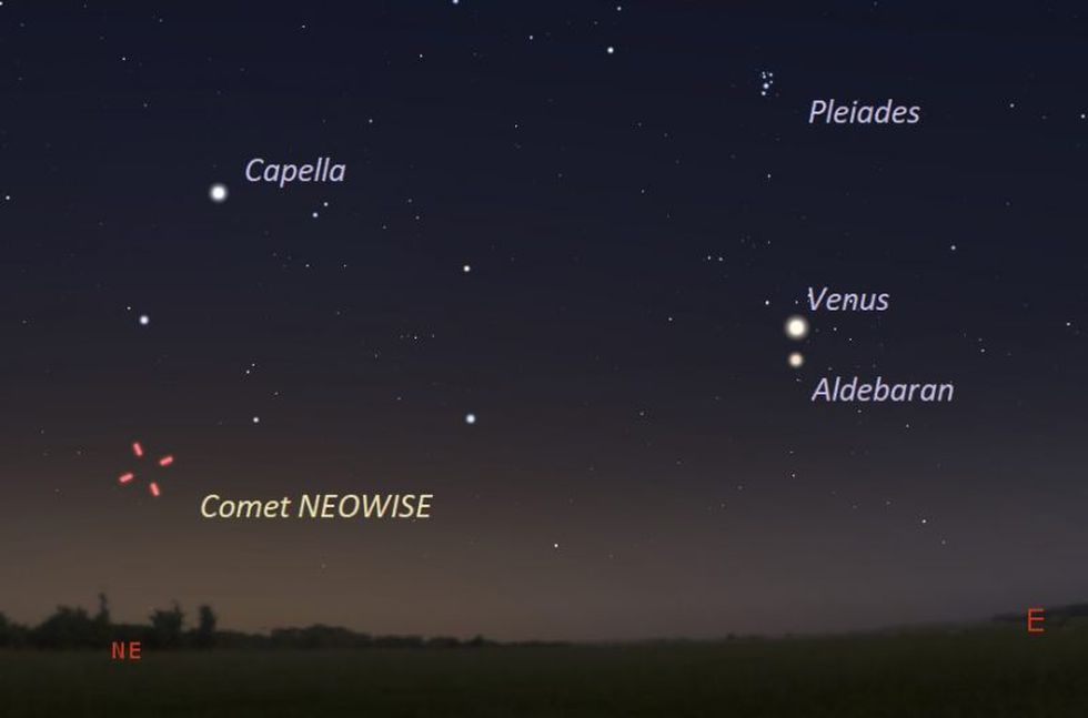 July 9, 2020 just before dawn, as seen from central U.S. facing northeast about 45 to 60 minutes before sunrise. Illustration by Eddie Irizarry using Stellarium.
