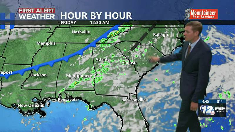 Few showers late Thursday into early Friday